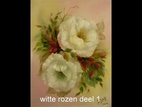 witte rozen deel 1, olieverf, Jenkins techniek