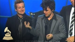 Green Day accepting the GRAMMY for Record of the Year at the 48th GRAMMY Awards | GRAMMYs
