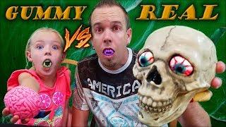 Gummy Food Halloween Candy VS Real Toys Challenge!! Halloween Edition