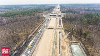 Budowa drogi ekspresowej S8 z lotu ptaka. Ostrów Mazowiecka - Wyszków (luty 2017)
