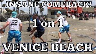 INSANE COMEBACK! 1v1 against random guy at Venice Beach!! Video