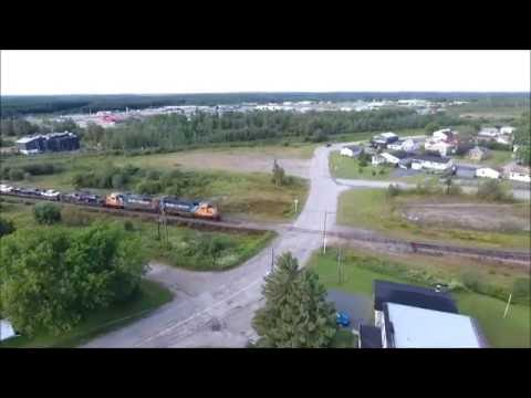 Ontario Northland - Polar Bear Express, Cochrane ON [drone] (2016-Aug-22)