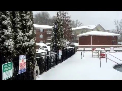 Snow In Asheville, North Carolina, USA, 01/22/2016