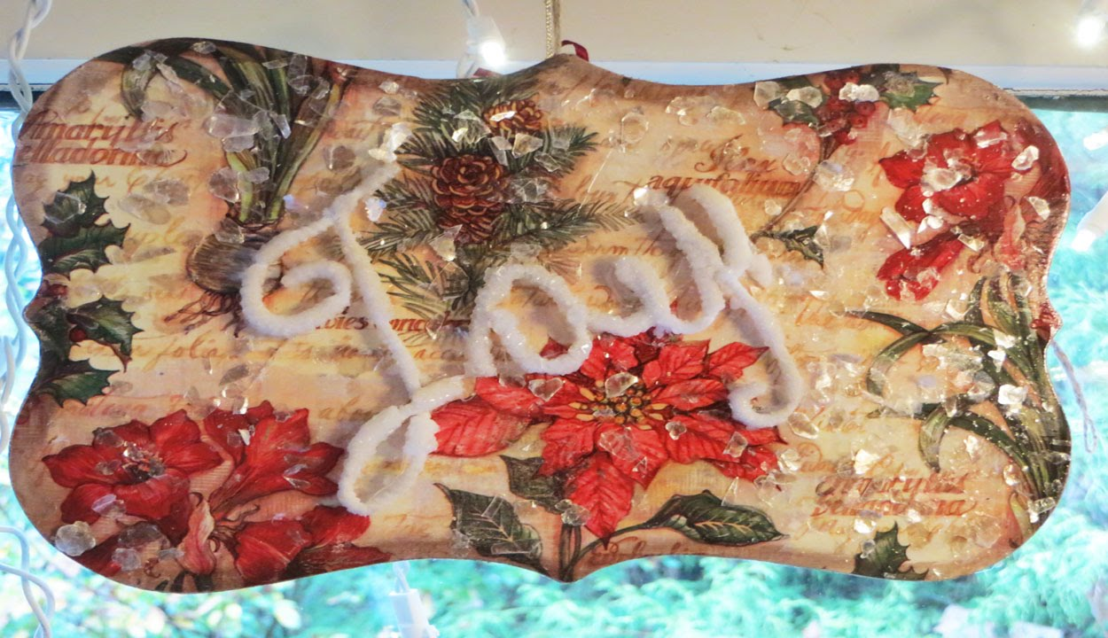 Decoupage Tutorial Christmas Wrapping paper over Wood Plaque