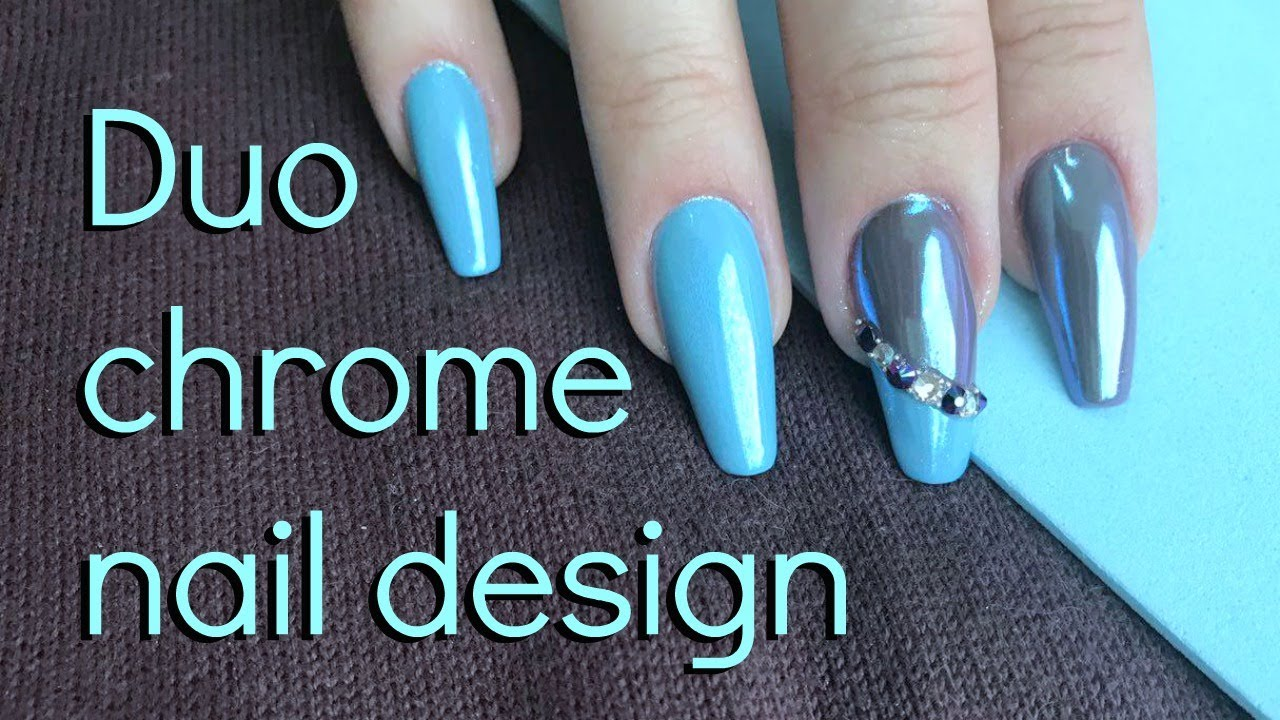 How to: Duo Chrome color nail design | Step by step tutorial - YouTube