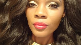 ❤Gold Glitter Eyes With Bold Red Lips❤ Thumbnail