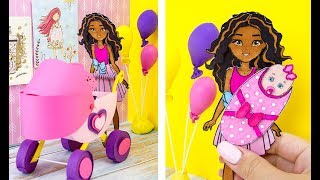HOW TO MAKE BABY STOLLER FOR DOLL BARBIE TWINS DIY TUTORIAL FOR GIRLS