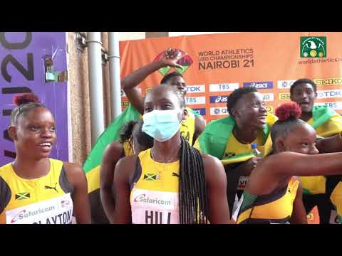 TEAM JAMAICA 4X100 WON GOLD IN THE WOMEN 4X100M FINAL AT THE U20 CHAMPS