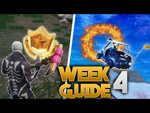 Fortnite WEEK 4 SEASON 5 Challenge Guide! | ALL Flaming Hoop Locations , Battle Star Location + More
