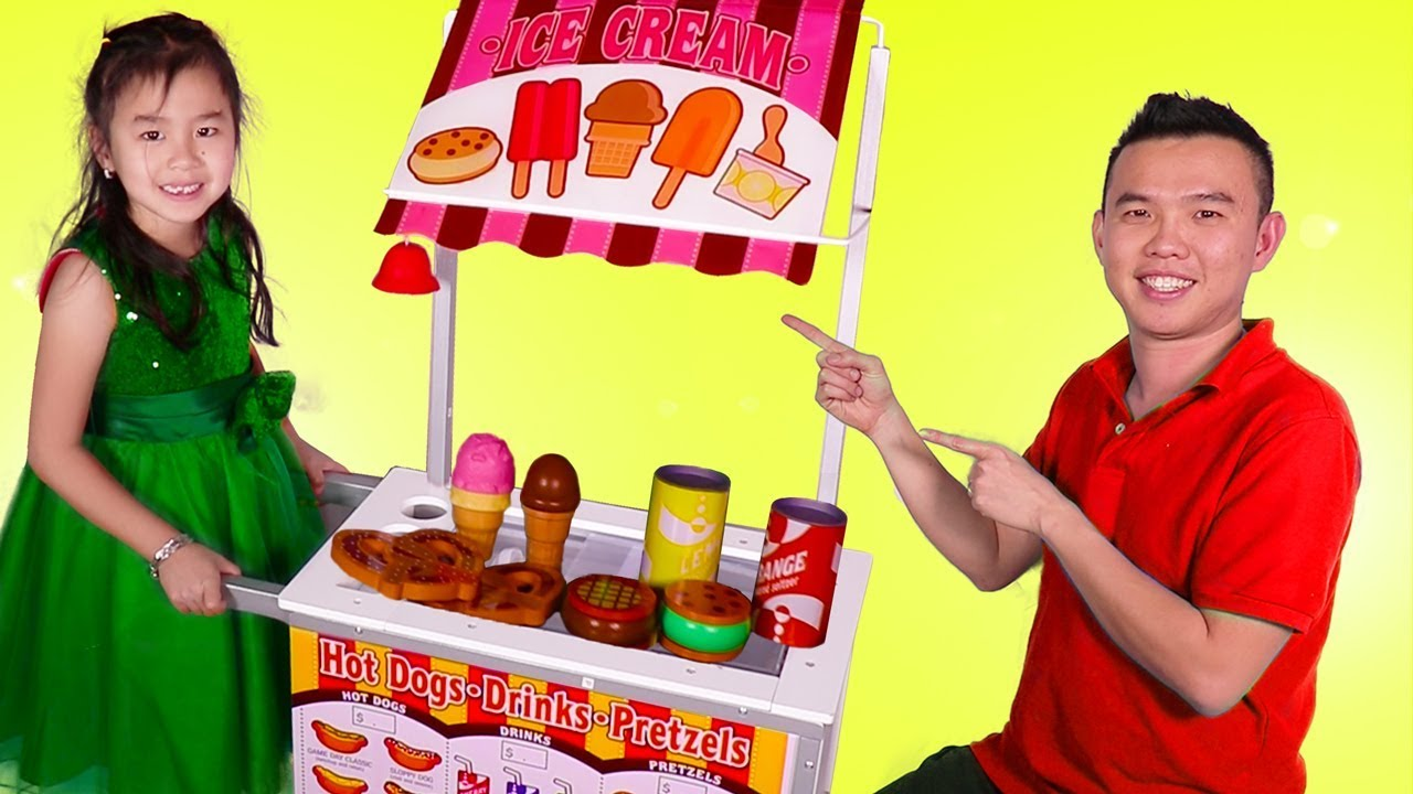 Jannie Pretend Play With Ice Cream Food Cart Toy Youtube