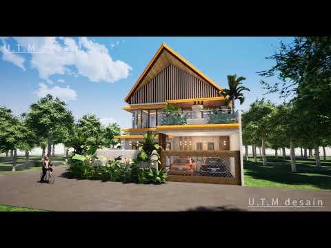 desain rumah minimalis modern tropis 2 lantai gebyok bambu