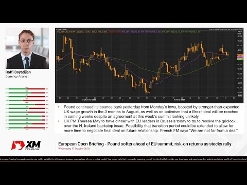 Forex News: 17/10/2018 - Pound softer ahead of EU summit; risk-on returns as stocks rally