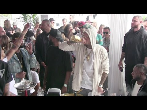 Singer Chris Brown wasted as he parties in Cannes during the 68th Film Festival.