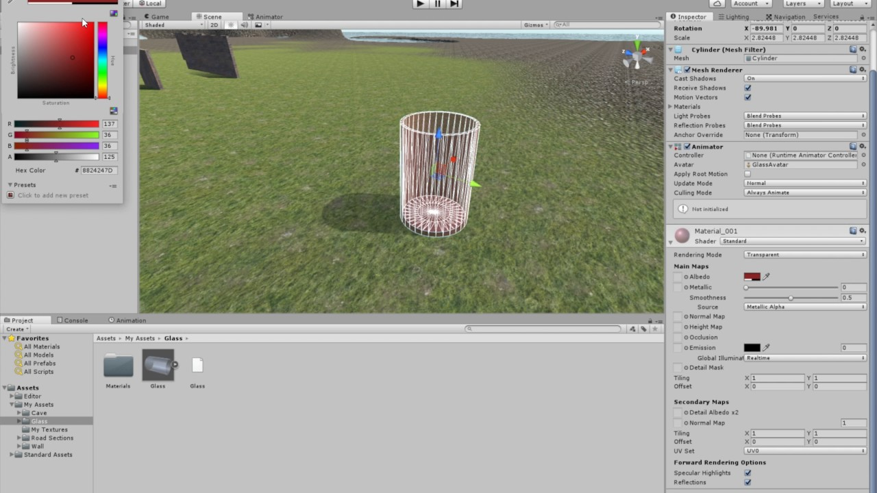 Basic Transparent Objects in Unity with Blender