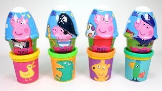 4 Colors Play Doh Cans with Peppa Pig Surprise Eggs Learn Colors Cartoon Characters for Kids