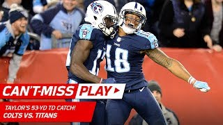 Tennessee Titans quarterback Marcus Mariota connects with Taywan Ta...