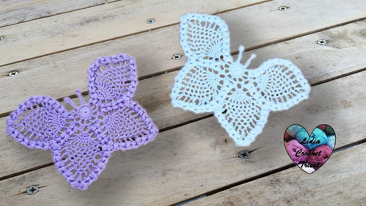 Papillons Relief Crochet Napperon Magnifique Youtube
