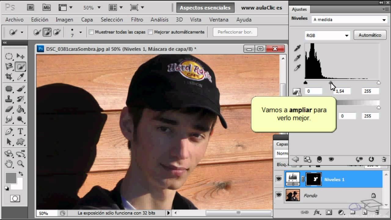 Curso de Fotografía y Photoshop. 22. Aclarar rostro a la