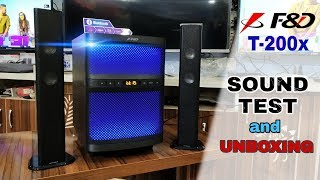 F amp D T-200x SOUND Test and UNBOXING 8 inch SUB WOOFER BT 4 0 by technical attachment