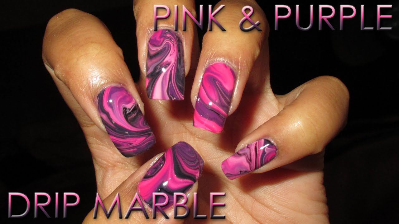 Pink Purple Drip Marble Diy Nail Art Tutorial Youtube