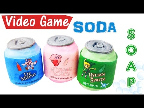 DIY VIDEO GAME SODA SOAP (Paper melts too!)   Melt and pour soap tutorial
