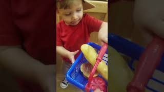 Grocery Shopping at Pretend City Sept2018 16mo
