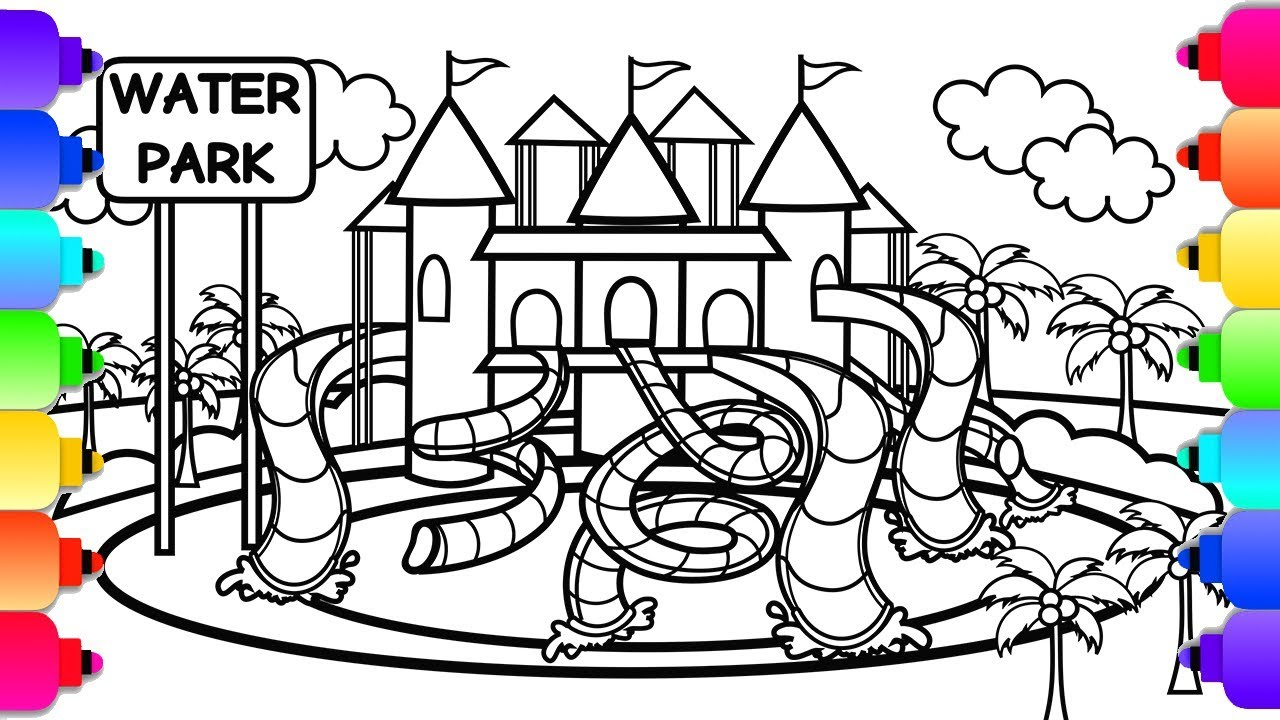 learn how to draw a waterpark  slides and a castle