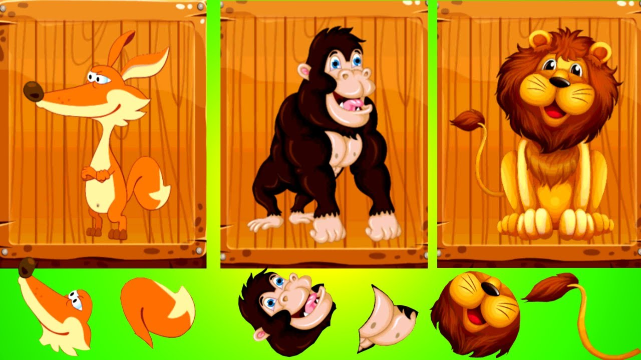Kids learn about Zoo Animals | Animal Puzzle Games for Kids with Real Videos - Fun & Education