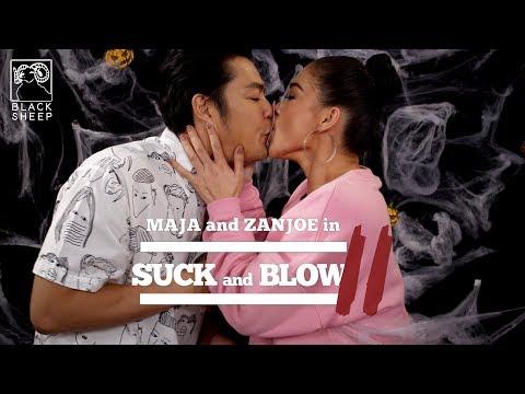 Maja and Zanjoe do the Suck and Blow Challenge