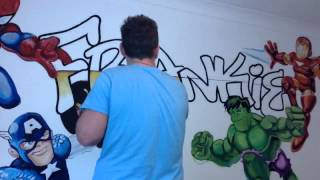MARVEL SUPERHERO SQUAD MURAL TIME-LAPSE SPEEDPAINT BY DREWS WONDER WALLS