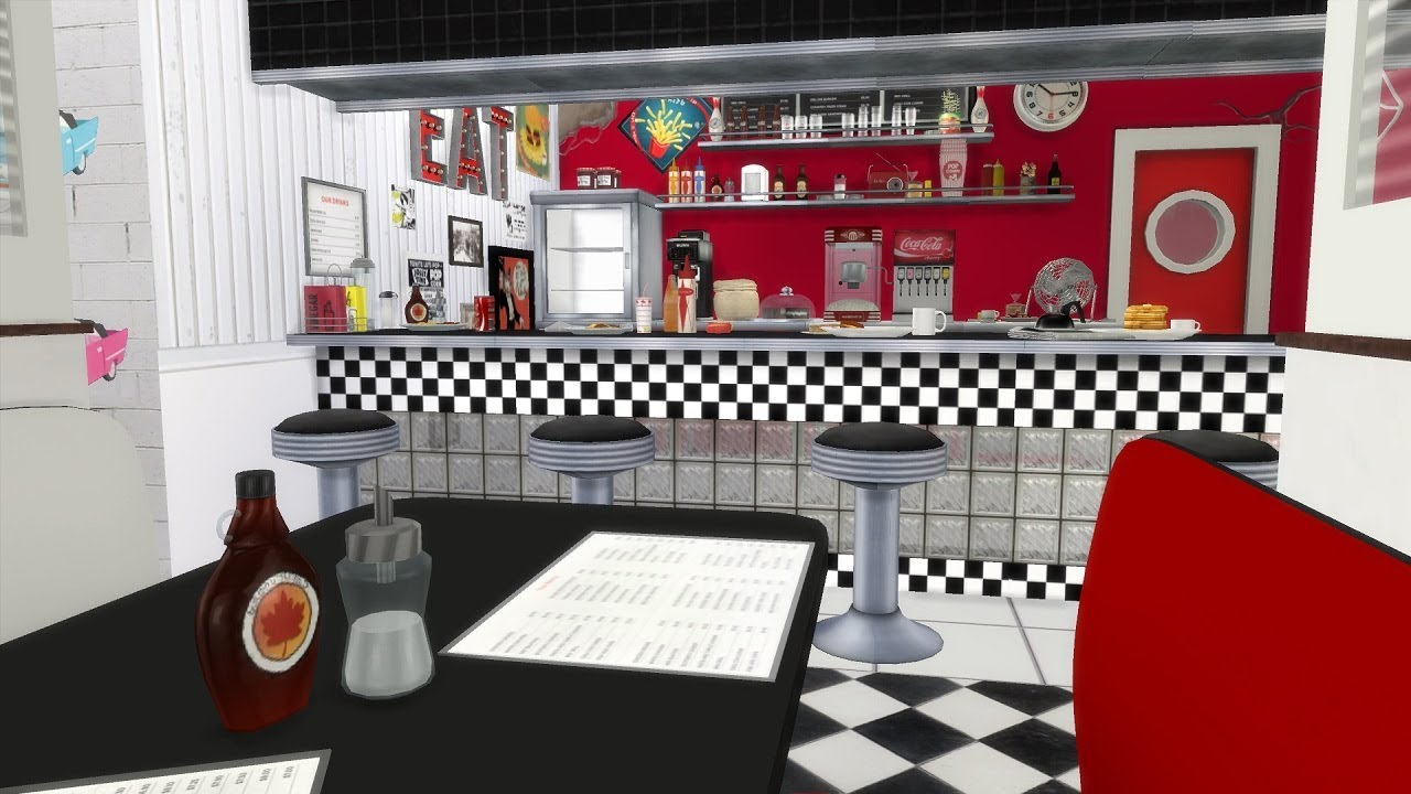 the sims 4 speed build american diner with cc links youtube. Black Bedroom Furniture Sets. Home Design Ideas