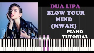 Dua Lipa - Blow Your Mind (Mwah) (Piano Tutorial With Synthesia)