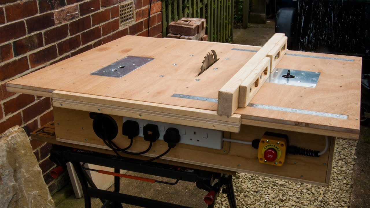 Homemade table saw with built in router and inverted jigsaw 3 in 1 youtube premium greentooth Choice Image