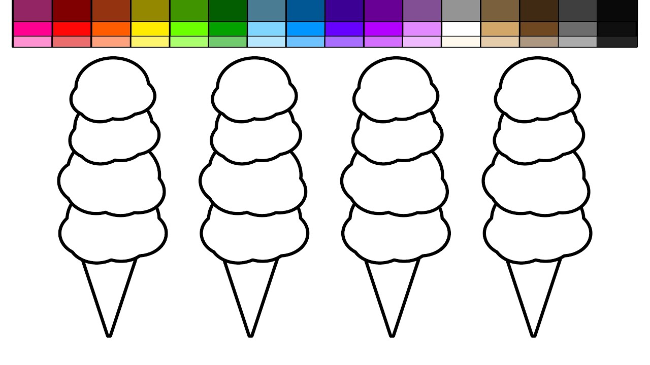Coloring pictures of ice cream cones - Learn Colors For Kids And Color Quad Scoop Ice Cream Cones Coloring Page