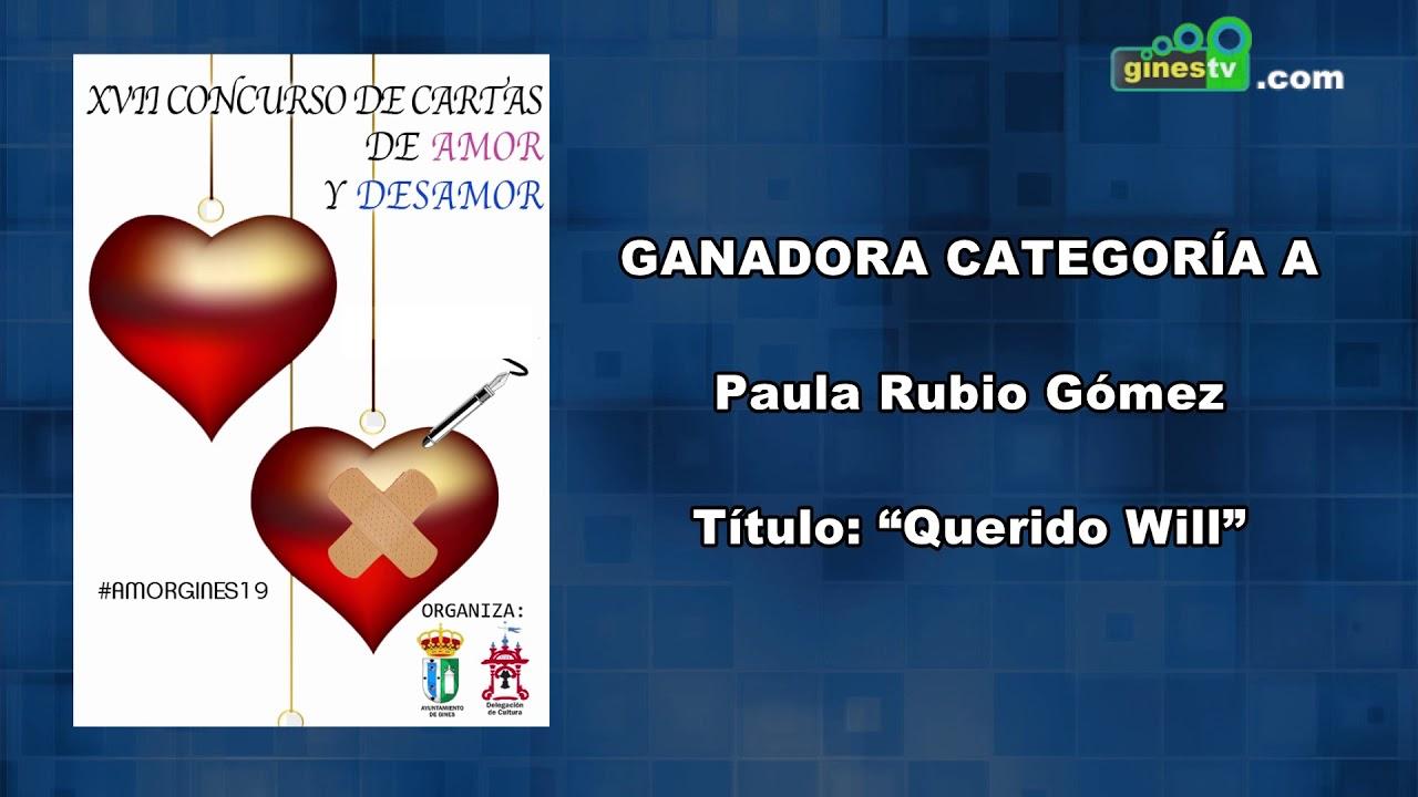Concurso de Cartas de Amor y Desamor de Gines 2019 - Ganadora categoría A