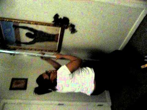 There she go sliding down that pole