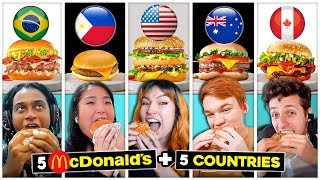 5 McDonald's Burgers Eaten By 5 People From 5 Countries At The Same Time | React Abroad Ep. #1