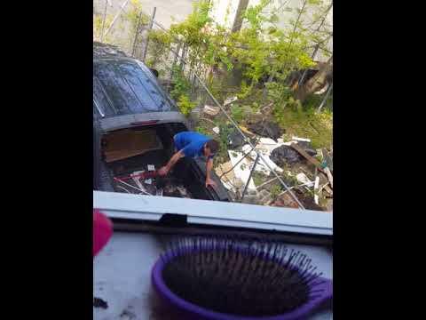 downstairs dumping trash in neighbor's yard(2)
