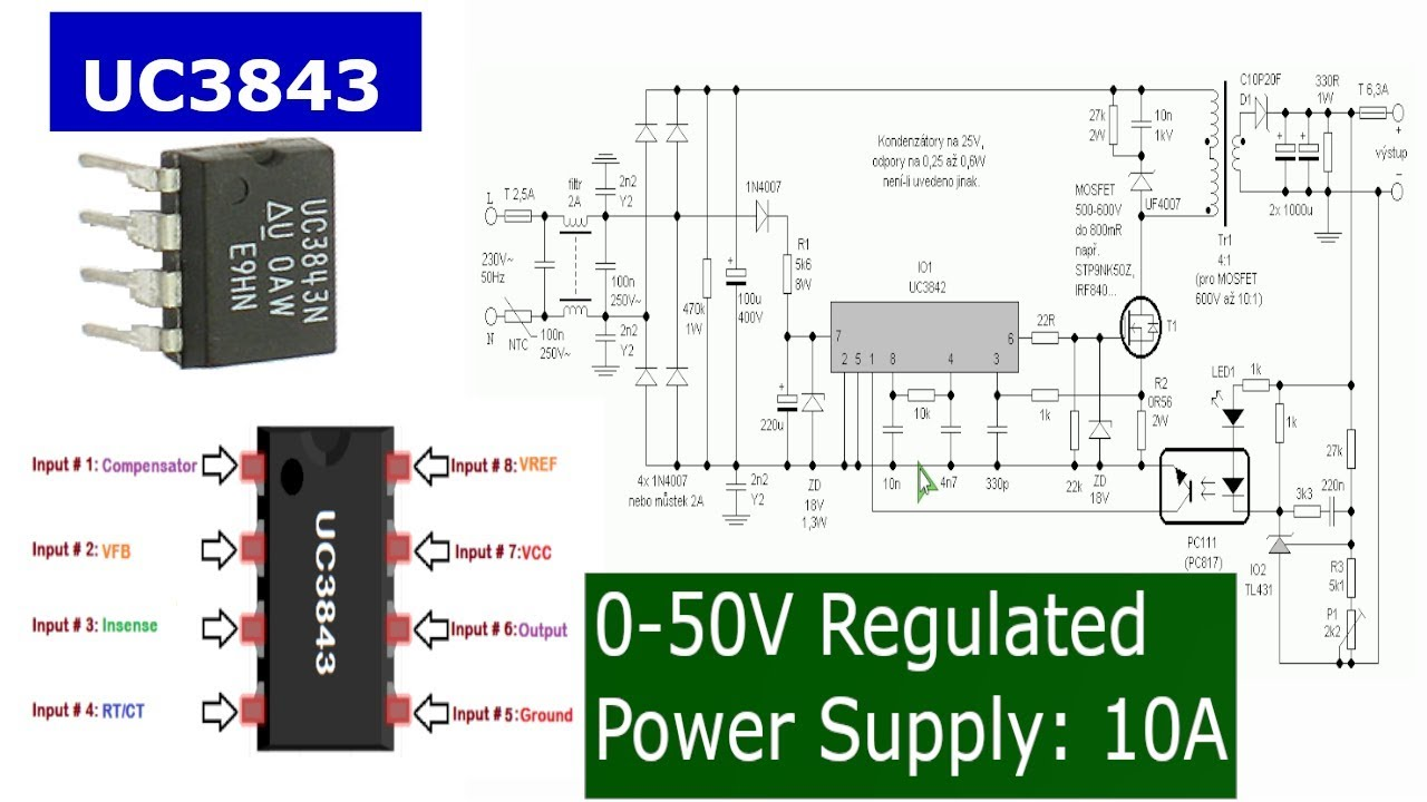 Make a 0-50V 10A Power Supply with UC3843