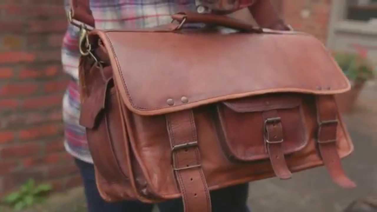 4772bd54e34e Everett Leather Laptop Briefcase Bag - YouTube
