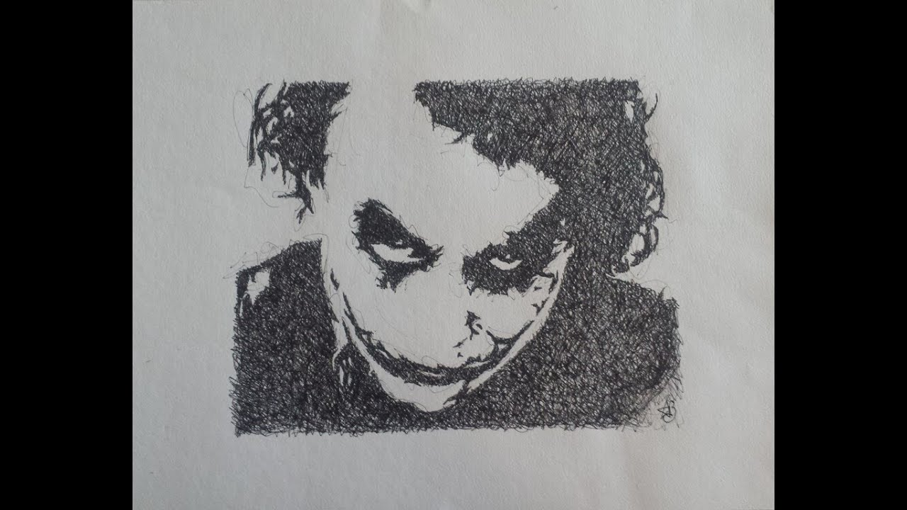 Joker Scribble Drawing : Joker batman scribble speed drawing youtube