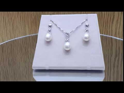 Selena - Комплект сребърни обеци и висулка с перла  АА 8 - 8.5 мм и циркони