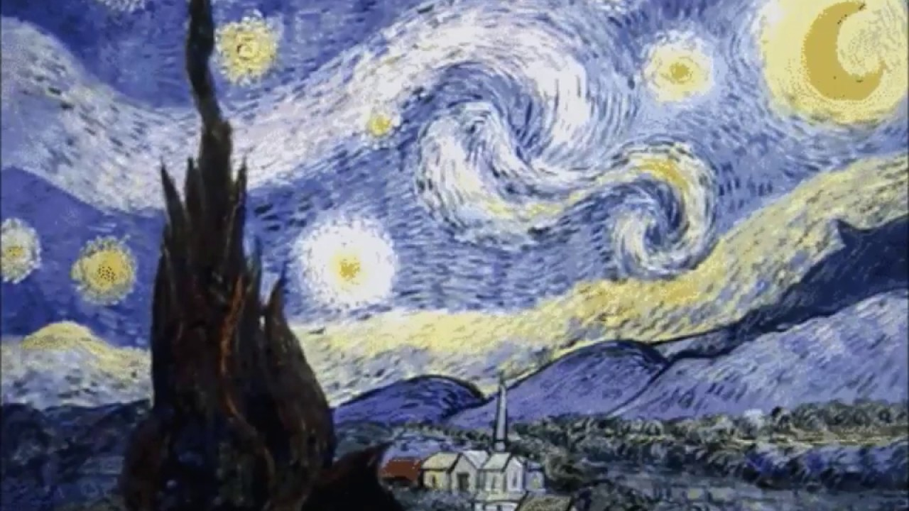 Гифка звездная ночь ван гог