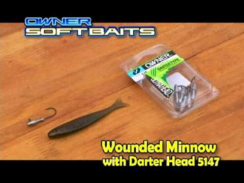 wounded minnow - owner soft baits by owner hooks - youtube, Soft Baits
