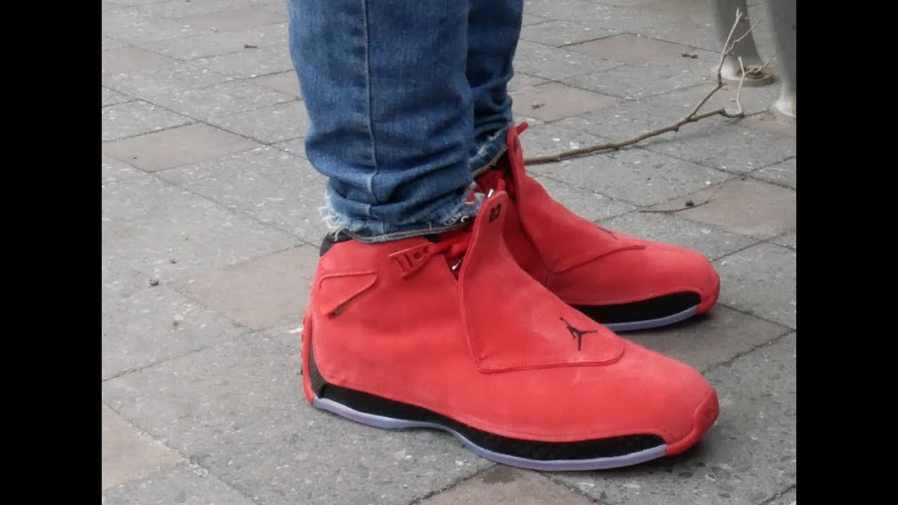9cda78f7a822 ... youtube e3685 e74fd  best price air jordan 18 toro gym red review on  feet 9ce14 e2dc3