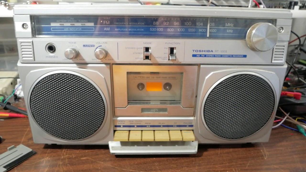 1980s Toshiba stereo cassette boombox teardown and repair