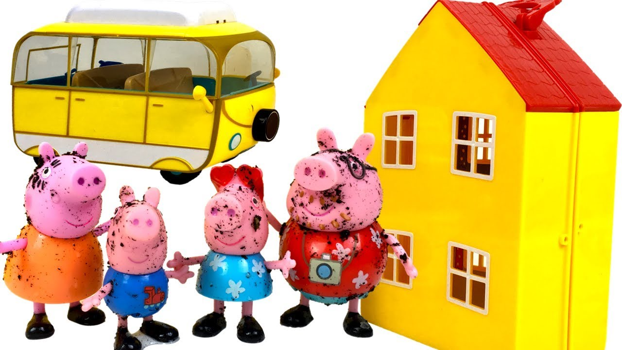 peppa pig and her family going on a camping trip having car trouble grandpa dog helping her. Black Bedroom Furniture Sets. Home Design Ideas