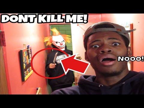 MY STALKER KILLER CLOWN BREAKS INTO MY HOUSE! TRYS TO KILL ME!!
