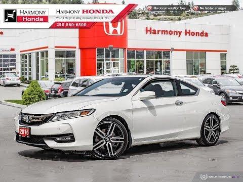 2016 Honda Accord Touring Coupe - Harmony Honda - White - U6412 - Kelowna, BC