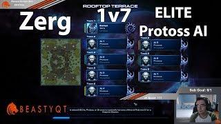 StarCraft 2: Zerg 1 vs 7 Protoss ELITE AI !!!